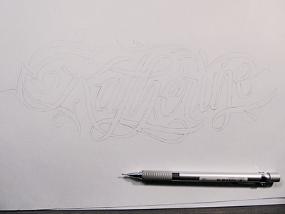 Katherine pre-ink sketch lettering calligraphy script interlocking pencil sketch name katherine