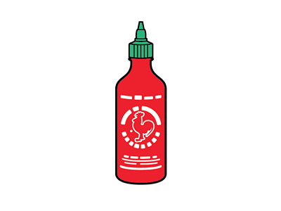 Sriracha Simplified icon vector lapel pin design bottle sauce sriracha