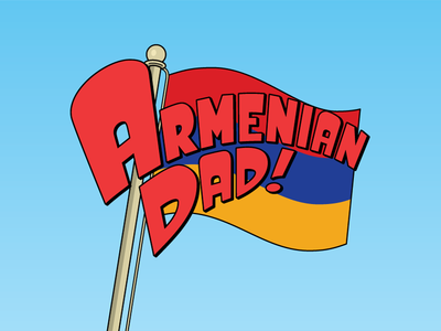 Armenian Dad armenia flag cartoon parody logoflip title logo vector lettering typography
