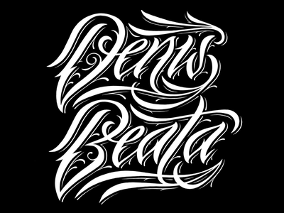D+B WB tattoo script namesbymx name lettering beata denis calligraphy