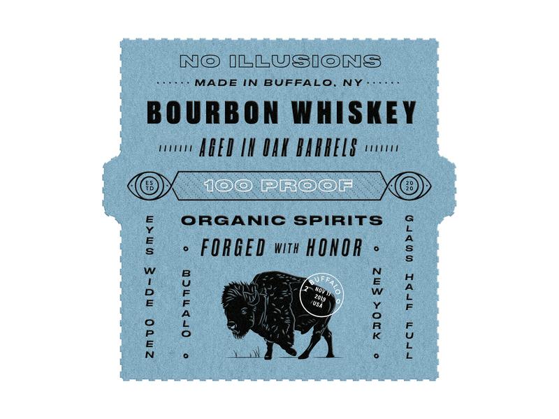 Whiskey Label Concept buffalo logo eye new york texture illustration whiskey and branding packaging bottle liquor label whiskey