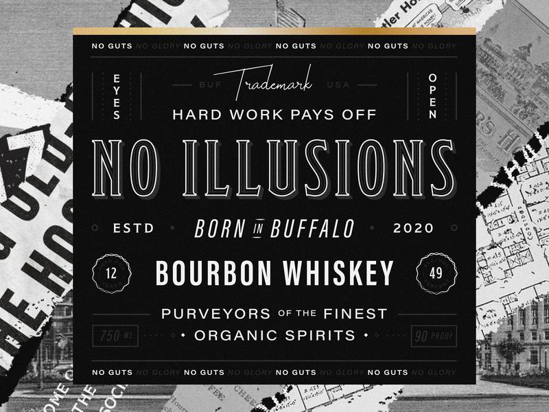 Whiskey Concept liquor spirits historical gold foil black and white gold type new york buffalo texture whiskey packaging branding label