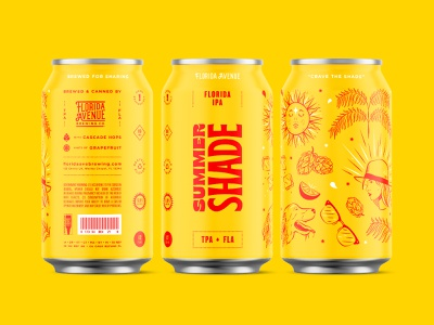 Crave The Shade cans tampa sunshine brice color labels beer can beer florida illustration branding packaging