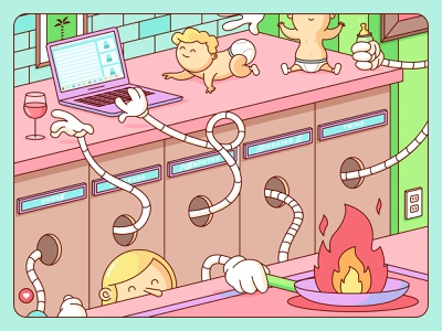 The Mom Machine computer hands pastel color wfh mom vector pastel illustration