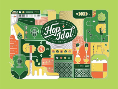 Hop Idol 2020 singing piano can beer can hops microphone music guitar beer illustration