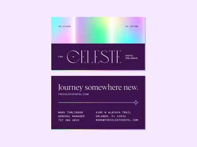 Hotel Business Cards monospaced space stars foil gradient print stationery business cards branding