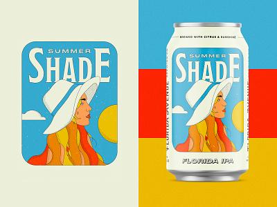Florida IPA Beer Label packaging hair can ipa summer illustration girl retro brewery label beer label sun beer florida