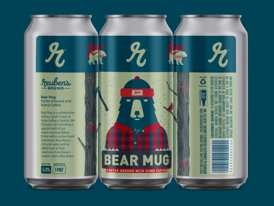 Mug Me Brotha labeldesign craft beer texture illustration bear beer label beer cans packaging