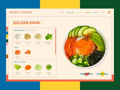 Pacific Counter Online Menu website color landing food menu web ui