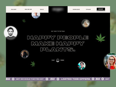 Cannabis Culture Website Screen landing page culture type black and white cannabis web ui