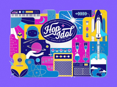Hop Idol 2021: Temple of the Stars illustration beer label can design color space beer
