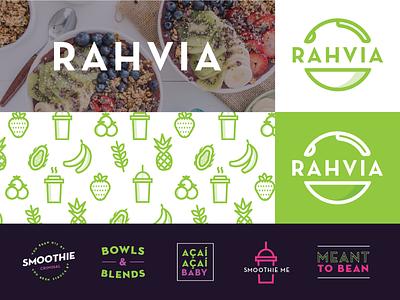 Açaí Dude food health pink green restaurant illustration smoothies bowls acai pattern icons branding