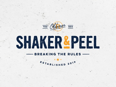 Shaker & Peel restaurant typography food combo 2019 oldsmar florida distressed mark concrete tacos rough texture lockup branding logotype
