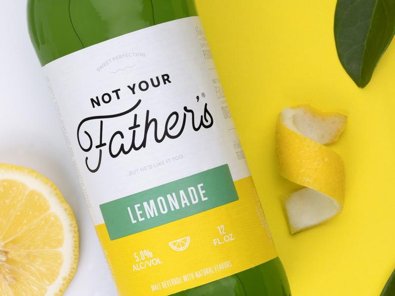 Not Your Father's Lemonade green yellow photography food logo illustration lemon pabst rebrand beer branding bottle lemonade beer packaging