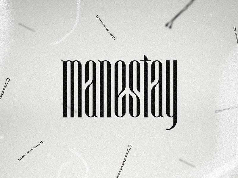 Manestay Logotype logo custom hair lowercase wordmark logotype icon texture mark branding