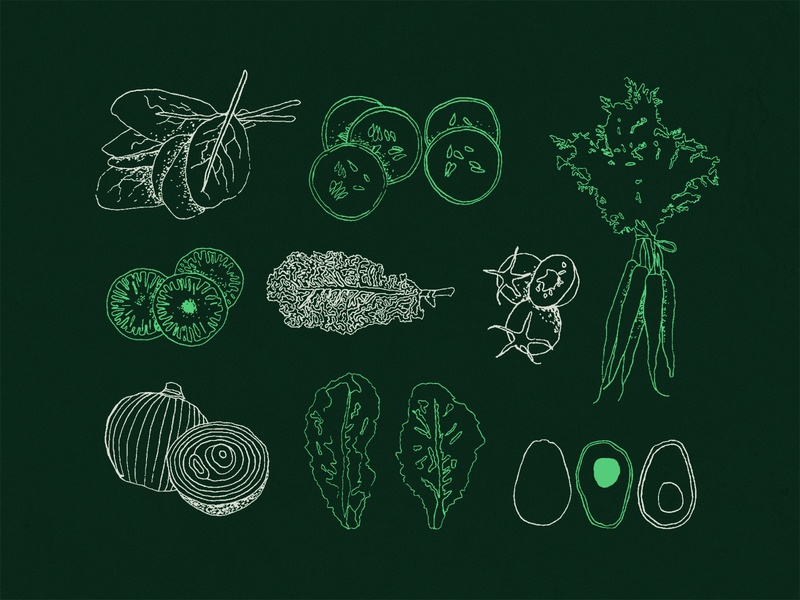 Eat Your Greens branding texture rough green assets icons vegetables veggies sketches drawing illustration