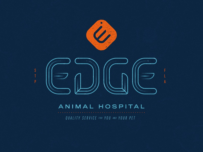 Edge Animal Hospital animals orange blue veterinarian vet pet cat dog icon logomark logotype lockup badge logo branding design branding badge