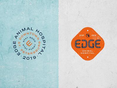 Edge Animal Hospital Assets florida concrete rough texture grunge vet cat dog brand identity logo badge design assets badgehunting badge