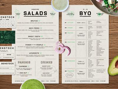 Salad Menu texture bowls green pattern branding restaurant food salad type layout menudesign menu