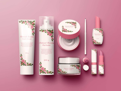 Cosmetics product label makeup cosmetics 3d branding logo