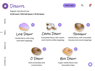 DailyUI - #43 Food/Drink Menu web logo love taste food illustration design graphic design browser app ui donut