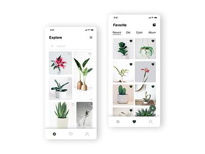 DailyUI - #44 Favorites plants love green minimalist minimal graphic design photo app design daily ui