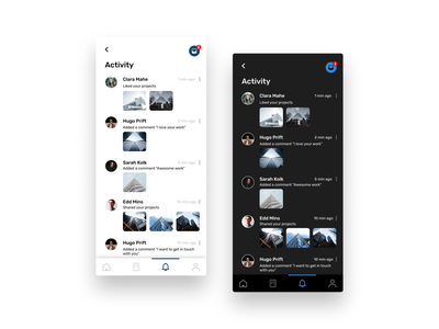 DailyUI - #47 Activity Feed mood achitecture feel look design graphic design formal ui app feed activity