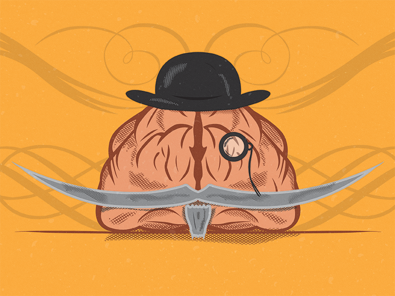 An Aged Mind ornaments swashes pen tool hat monocle mustache western brain texture hatching illustration