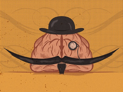 An Aged Mind 2 swashes ornament design mind aged monocle texture halftone hat brain mustache illustration