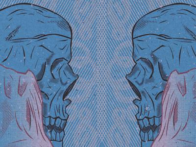 Skulls and Stuff crosshatch blue illustration texture halftones skulls