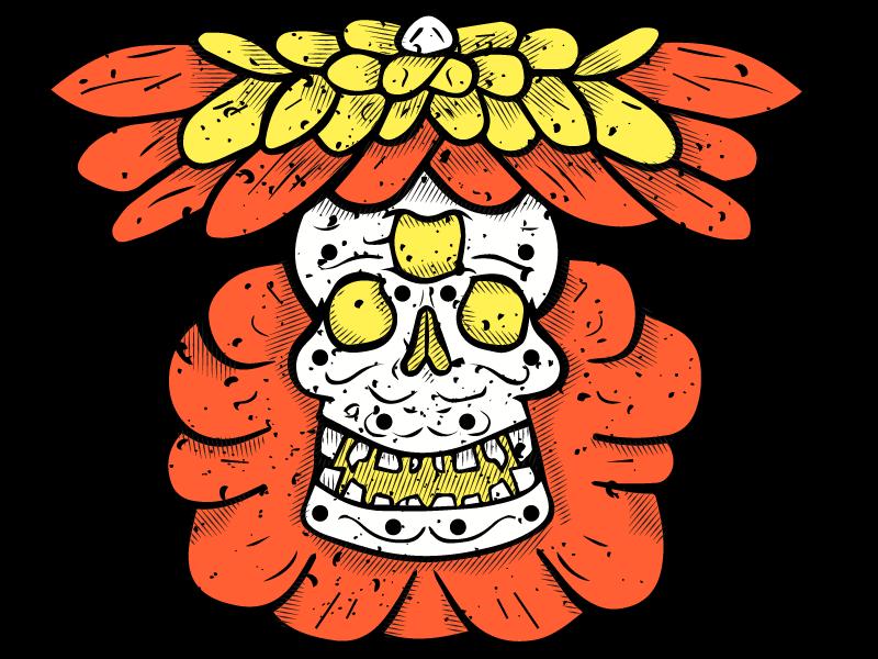 Halloween Flower Calavera apparel design screenprint illustration vector texture hatching flower skull sugar skull halloween