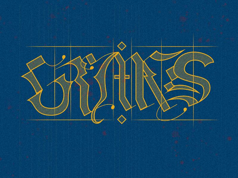 Grimes Study Rebound textured script lettering medieval grimes
