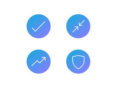 Tech Security Icons b2b technology simple line blue gradient icons