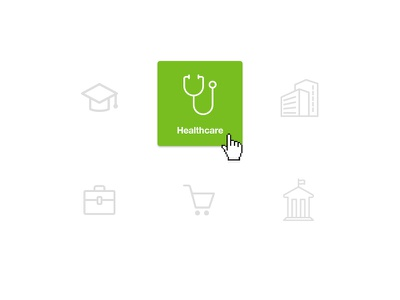 Industry Selector Icons ux ui web industries healthcare state hover simple line green icons