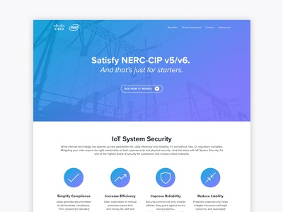 IoT Substation Security landing page gradient icons security iot tech