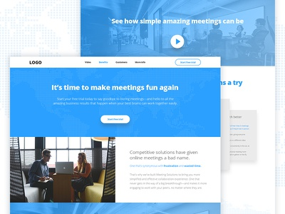 Meeting Solutions Landing Page simple web ux ui blue start up meetings technology landing page