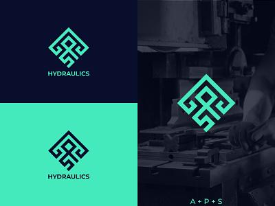 APS HYDRAULICS typography illustration icon graphic design design vector branding logo