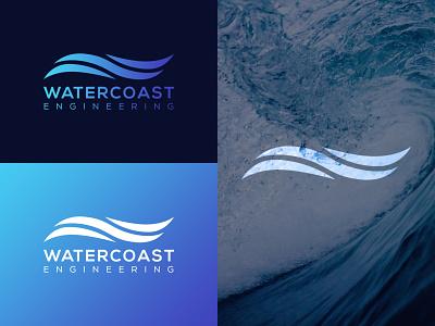 WATERCOAST ENGINNERING typography icon illustration graphic design design vector branding logo
