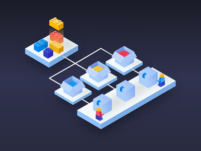 ASYNCY microservices landing page dark lego illustrations microservices isometric bricks