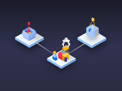 ASYNCY microservices, part 2 bricks isometric microservices illustrations lego dark landing page