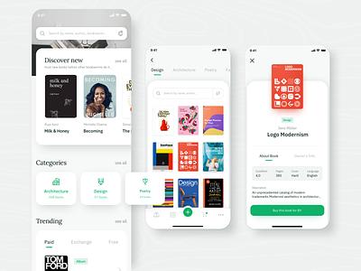 📚Bookly 📚 netguru trade sharing library green application design bookworm book app app ui