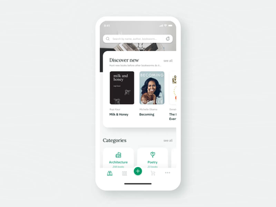 📗Bookly animation 📗 design aftereffects principle trade sharing library book app ecommerce app mobile design mobile app userinterface ux ui mobile ui interaction animations animation books