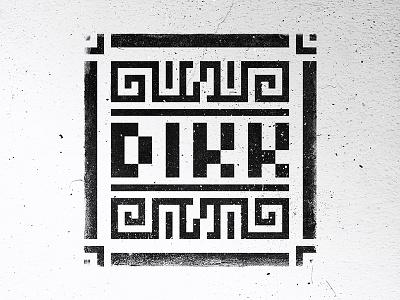 White DIKK white vector qr maze logo lines greek dikk dick black amaze