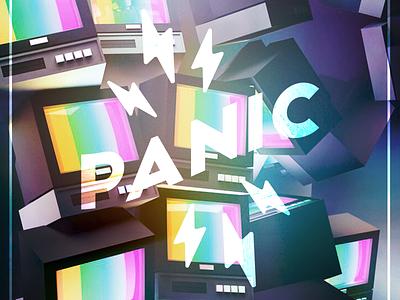 Panic TV thunderbolt volt 3d cinema4d c4d television tv glitch design logo spoon