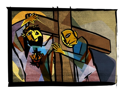 Christ helping to carry our crosses illustration