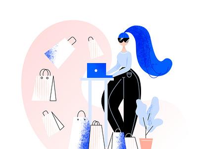 Shopping 2020 vector vectorart women shopping bag ecommerce illustration ecommerce shop ecommerce online store online shop shop shopping