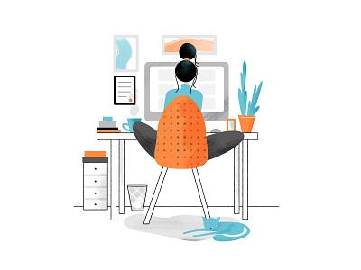 Work in Home affinity photo home work desk woman design affinitydesigner vector illustration home office office stay home freelance work in home