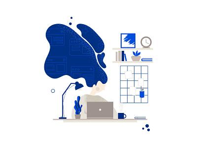 Working Girl business ui homeoffice freelance home office online vector web design web illustration notebook workspace woman office desk work