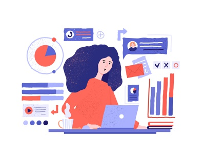 Analytic work hand drawn illustration woman in office analytics office adobe illustrator vector vector art