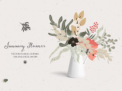 January flowers - vector set vectorart illustration flowers illustration floral clipart vector clipart flowers